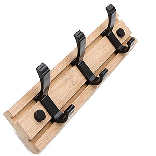 ZHIWUJIA Percha Perchero de Pared Gancho móvil Diseño sin Perforaciones Fuerte Soporte de Carga Estante para Bolsas por Oficina/Dormitorio (3 Ganchos / 4 Ganchos)(Size:30x1.2x6cm/11.8x0.5x2.4in)