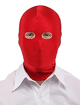 Seeksmile Unisex Spandex Full Cover Zentai Hood Mask  Adult Size Red Open-Eyes