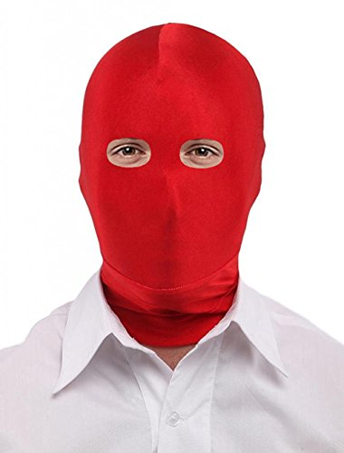 Seeksmile Unisex Spandex Full Cover Zentai Hood Mask (Adult Size, Red Open-Eyes)