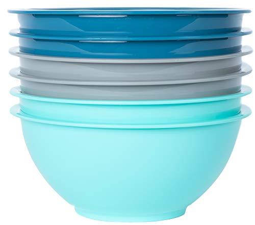Klickpick Home 10 Inch Plastic Bowls Set of 6 - 64 ounce (2 Liter) Capacity Extra Large Cereal Salad Serving Mixing Bowl Microwave Dishwasher Safe Soup Bowls - BPA Free Bowls 3 Coastal Colors