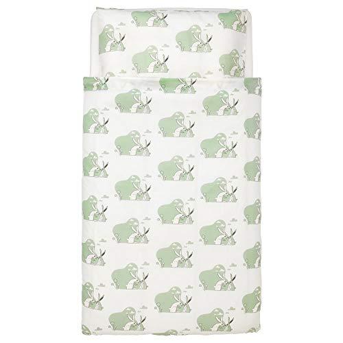 Ikea 703.654.40 BUSSIG Bettwäsche 2-tlg. f Baby, grün, 110x125/35x55 cm, Nicht Angegeben