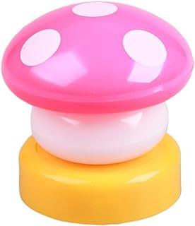 CLENERSA Led-nachtlampje voor kinderen, drukknop, batterijen, paddenstoel, roze