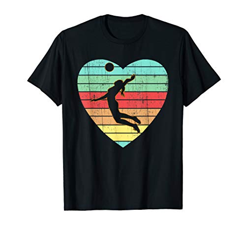 Vintage Valentines Day Heart Gifts Volleyball Player Girl T-Shirt