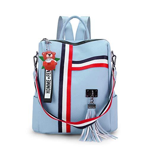 shenlanyu Womens Backpack Luxury Female backpacks Leather tassel Backpack for girls Ribbon School Bags large Shoulder bag lightblue