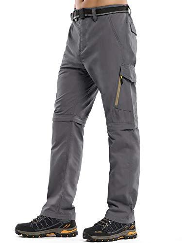 Mens Hiking Fishing Pants, Lightweight Quick Dry Convertible Zip Off UPF 50+ Sun Protection Outdoor Travel Safari Pants,6088,Grey,38