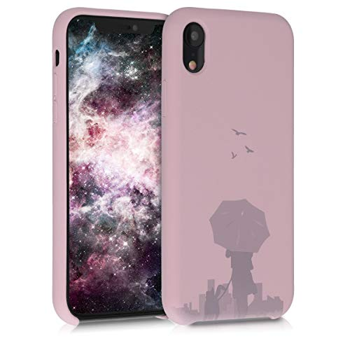 kwmobile TPU Silicone Case Compatible with Apple iPhone XR - Flexible Cover with Camera Protection - Laser Engraved Umbrella Dusty Pink