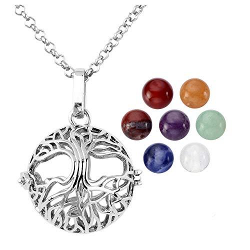 7 Chakra 8mm Gemstone Healing Crystal Ball Tree of Life Locket Pendant Necklace