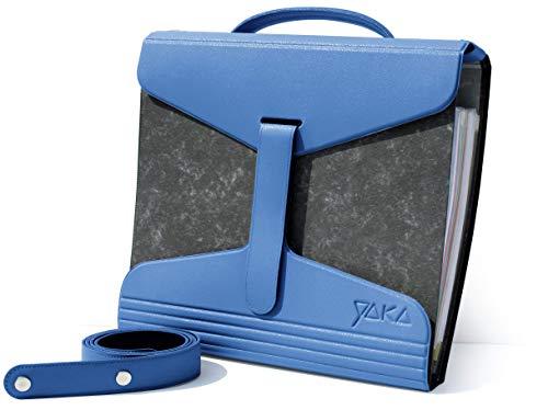 Portacartelle YAKA - Blu scuro, A4 - per la scuola, l'ufficio o gli artisti - Portafoglio in PVC organico leggero, documentazione cartacea, cartoleria, organizer per documenti con cinghie e maniglia