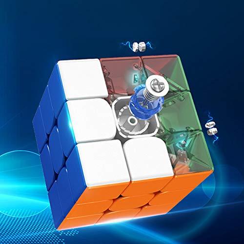 AKDSteel 3 x 3 Moyu 2020 RS3M Cubo de velocidad magnético sin adhesivo brillante Magic Puzzle 3M 3 capas cubo de aula Brainteasers niños niñas regalos juguete