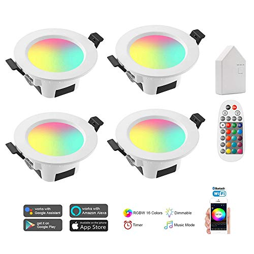 Recessed Lighting 5W Bluetooth Smart Smart Led Downlight Kit RGBW + CCT 5 in 1 Dimmable LED Recessed Ceiling with Remote Control & BT Mesh Smart Bridge LED Can Lights Compatible Alexa (4Pack)