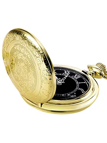 Hicarer Orologio da Taschino al Quarzo per Uomo con Quadrante Nero e Catena (Oro)