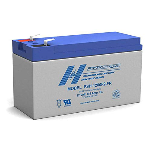 Powersonic High Rate PSH-1280F2FR - 12 Volt/8.5 Amp Hour Sealed Lead Acid Battery with 0.250 Fast-on Connector Flame Retardant Case
