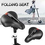 Brownrolly Asiento de cuero plegable cómodo asiento para patinete eléctrico M365 varilla de acero ajustable altura 42 – 62 cm