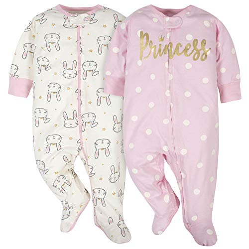 Gerber Baby Girls' 2-Pack Sleep N' Play Toddler Sleepers, Princess/Bunnies, 0-3 Months