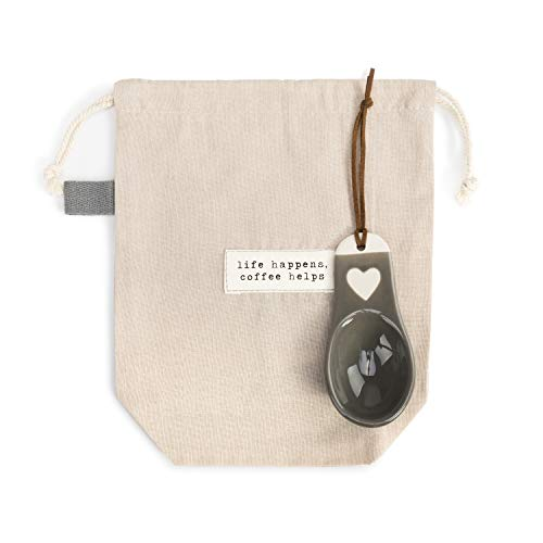 Find Bargain Life Happens Classic Cream 10 x 7 Stoneware and Cotton Coffee Bag With Scoop