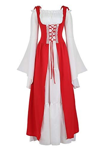 여성 르네상스 코스프레 의상 중세 아일랜드 드레스와 화학 보호 세트 고딕 하이 웨이스트 가운 드레스