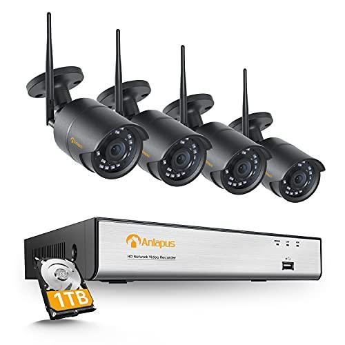 Anlapus 1080p H.265+ Kit Vidéosurveillance sans Fil NVR 8CH avec Disque Dur de 1 to, 4 Caméras IP Surveillance Extérieure IP66 Alerte Instantanée et App Gratuite Vision Nocturne de 24m
