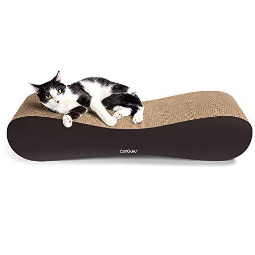 CatGuru Cat Scratcher, XL Cat Scratching Post (27x10x5 in), Premium Cat Scratch Pad, Cardboard Cat Scratchers, Reversible Cat Scratching Pad, Cat Corrugated Scratching Bed, Best Cat Scratcher Lounge