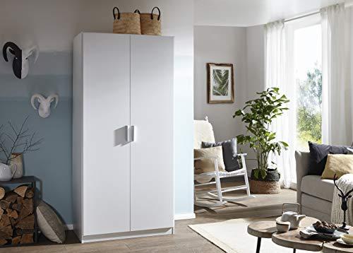 Rauch Kleiderschrank/Drehtürenschrank Cordoba 2-türig. Weiß Alpin mit 1 Einlegeboden, 1 Kleiderstange, BxHxT 91x197x54 cm