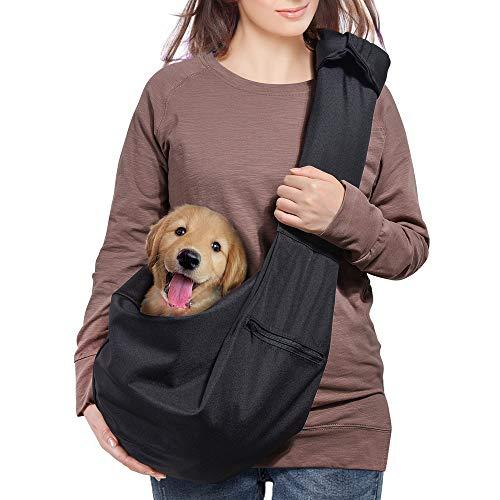 AOFOOK Dog Cat Sling Carrier Adjustable Padded Shoulder Strap with Zipper Pocket for Outdoor Travel (Black)