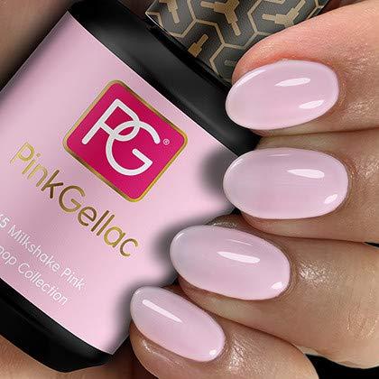 PINK GELLAC Shellac Gel Nagellack 15 ml für UV LED Lampe   265 Milkshake Pink Rosa Rose   Gel Nail Polish for UV Nail Lamp   LED Nagel Lack Gellack Nagelgel