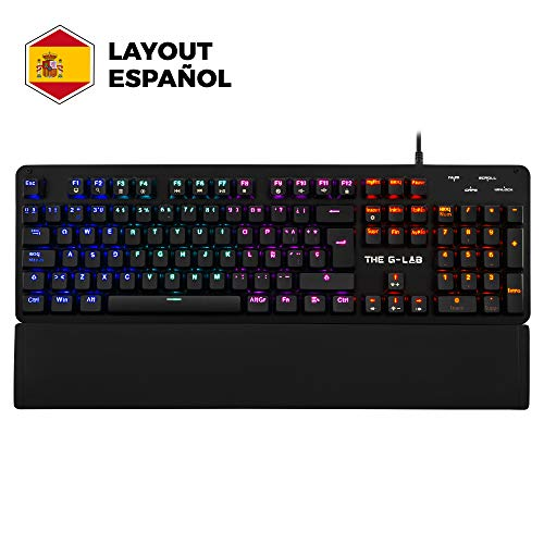 THE G-LAB Keyz Carbon E - Teclado Mecánico Gamer QWERTY Incluye Ñ - Switch Azul Teclado Teclado Gaming Retroiluminado LED, Anti-Ghosting Total – Teclado PC, PS4, Xbox One (Negro)