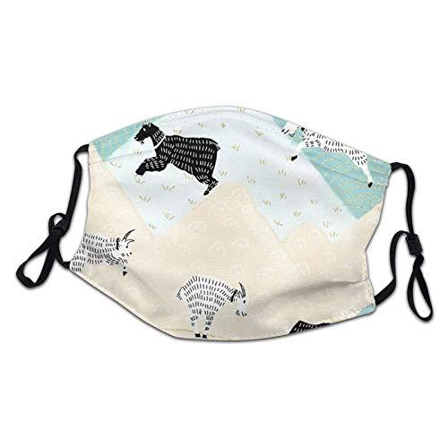 Ninjz8 Housse de protection pour enfant Unisexe Alpes suisses Chèvres de montagne Respirant Protection Bouche Cagoule pour enfant