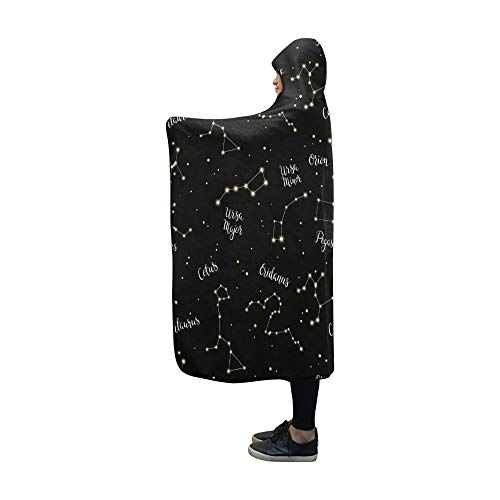 LONGYUU Decke mit Kapuze Constellations Orion Ursa Major Decke 60 x 50 Zoll Comfotable Hooded Throw Wrap