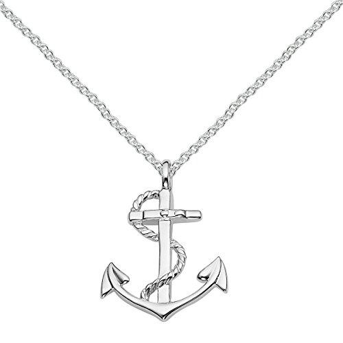 Vinani Anhänger Schiffs Anker Symbol Seemann glänzend mit Fiorentina Kette 60 cm Sterling Silber 925 Italien 2AAG-F560