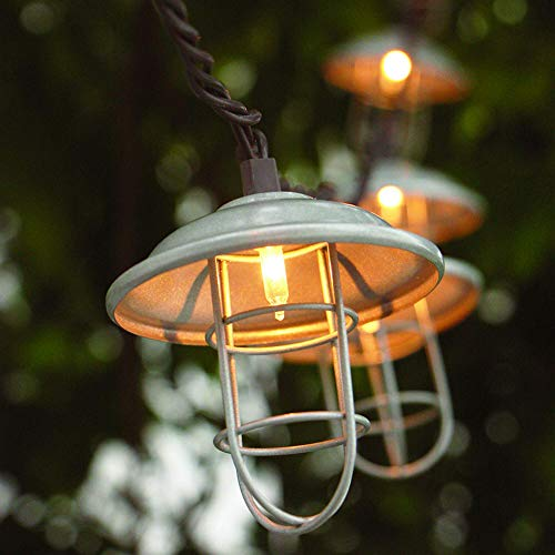 ZHONGXIN Patio String Lights, Metal Shade/Wire Cage-10 Bulbs Lantern String Lights, UL Listed Connectable Weather-Resistant Indoor/Outdoor Light for Pergola Porch Gazebo Garden Party Backyard Bistro …