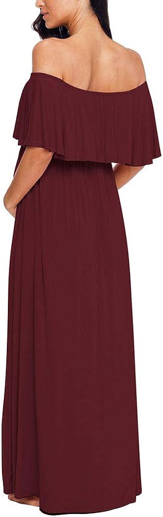 Ecavus Womens Off Shoulder Maternity Dress Ruffle Trim Maxi Photography Dress for Baby Shower
