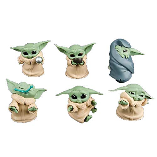 Baby Yoda 6 Combinations Figure Toy 3.9 inch Star Wars Mandalorian Figurines The Child Mini Collectible Cartoon Toys Animatronic Doll for Baby Party Gifts for Kids Birthday,Tabletop Ornaments