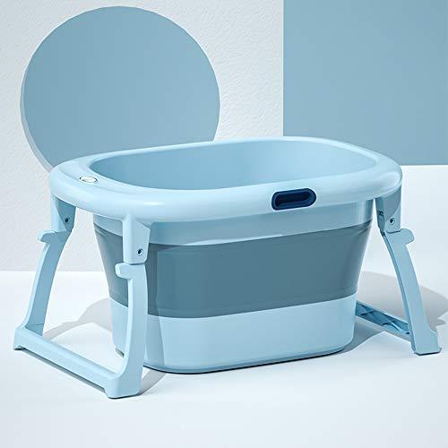 B&G Bañera Plegable del Bebé, Sentado Y Mentira Nadando Cubo De Natación De Tres En Uno, Bañera para Niños, Cubo De Natación para Bebés, 80X43x56cm,Azul