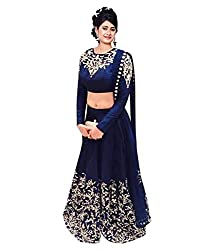 VKARAN Womens Raw Silk Semi-Stitched Lehenga Choli (Free Size)
