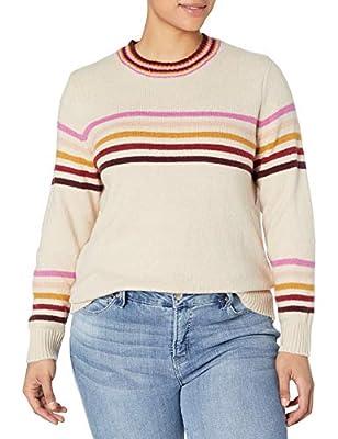 Jessica Simpson Women's Plus Size Rai Stripe Pullover Sweater, Oatmeal, 3X from Jessica Simpson