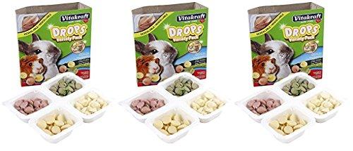(3 Pack) Vitakraft Drops Variety Pack Treats for Rabbits & Guinea Pigs (Yogurt, Banana, Strawberry, Alfalfa)
