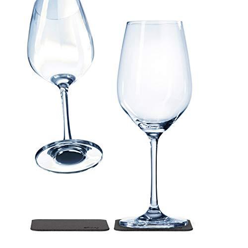 silwy Magnetgläser, feine Kristallgläser mit perfekt integrierten Magneten und metallischen Nano-Gel-Untersetzern – rutschfeste Campinggläser, Boot- und Yachtzubehör (Wein)