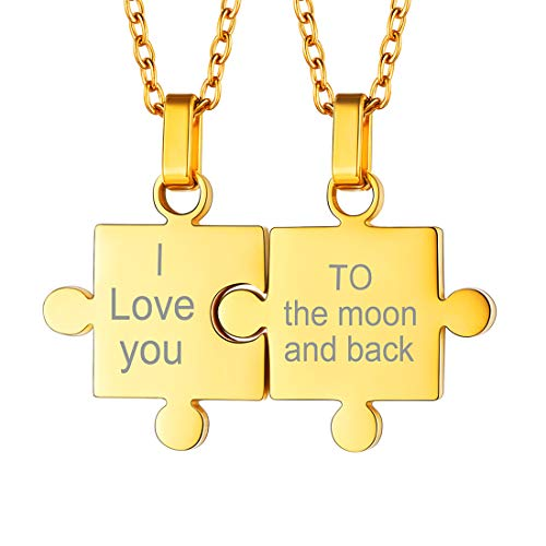U7 Customized Couple/Friendship Jewelry Stainless Steel Chain Personalized Engrave Puzzle Piece BFF Necklace Set, 2 Pcs (Gold (Personalized))
