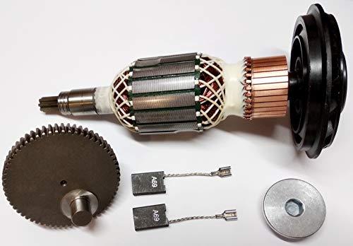 Rotor de motor de anclaje + engranaje + rodamiento + anillo roscado + carbón para Bosch GSH 11 E, WÜRTH MH10-SE, Berner BCDH-11
