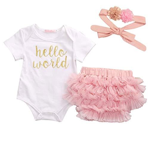 Carolilly Neonato Abbigliamento Estivo 3 Pezzi Bimba Pagliaccetto Neonata Manica Corta Stampa Hello World+ Pantaloncini Tulle Rosa per Balletto + Fascia con Fiori Rosa
