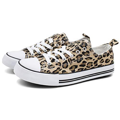 Epic Step Low Top Cap Toe Women Sneakers Tennis Canvas Shoes Casual Shoes for Women Flats- Comfortable Walking Tennis Shoes (Leopard, Numeric_12)
