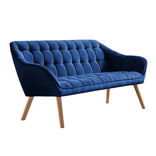 Adec - Olden, Sofá de Tres plazas, sillón de Descanso 3 Personas, Acabado en Tejido Color Velvet Azul, Patas de Madera Color Haya, Medidas: 175 cm (Largo) x 77 cm (Alto) x 75 cm (Fondo)