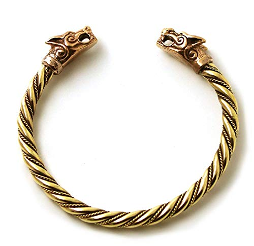 Bronze Norse Viking Fenrir Wolf Head Twisted Cable Bangle Cuff Bracelet Arm Ring Pagan Jewelry (8 Inches)
