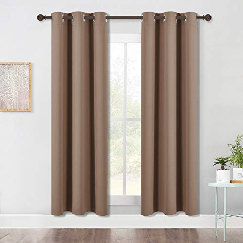 NICETOWN Blackout Draperies Curtains Window Drapes, Window Treatment Thermal Insulated Solid Grommet Blackout Panels for Bedroom (One Pair, 42 by 72 Inch, Cappuccino)