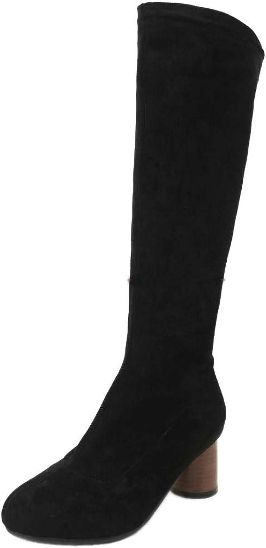 TAOFFEN Women shoes Block HEE; Long Boots Pull On