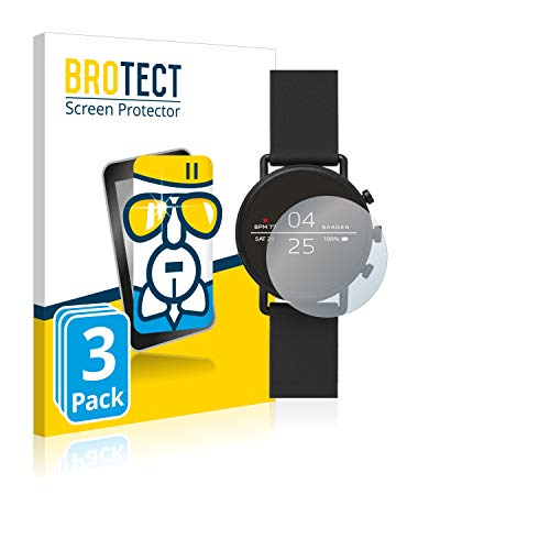 BROTECT Panzerglas Schutzfolie kompatibel mit Skagen Smartwatch Falster 2 (3 Stück) - AirGlass, extrem Kratzfest, Anti-Fingerprint, Ultra-transparent