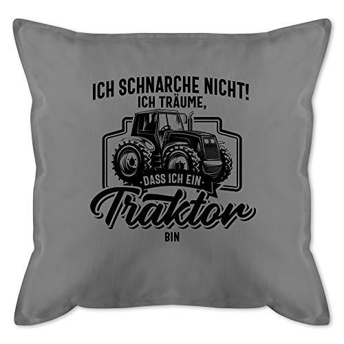 Kissen mit Spruch - Ich schnarche nicht ich träume dass ich ein Traktor bin schwarz - Unisize - Grau - kissen mit spruch traktor - GURLI Kissen mit Füllung - Kissen 50x50 cm und Dekokissen mit