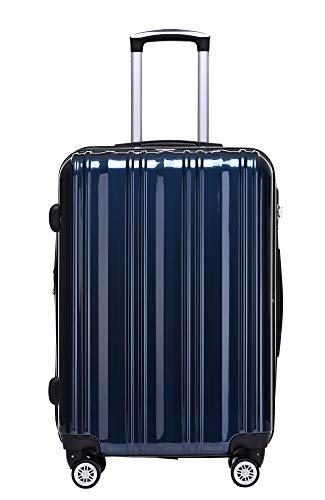 Münicase TSA-Schloß Koffer Reisekoffer Trolley Kofferset (Dunkelblau, Mittler Koffer (ca.66cm))