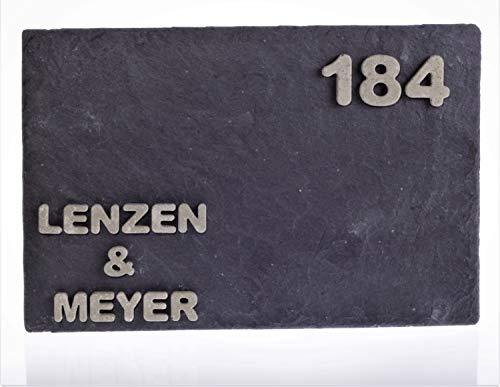 Schiefer mit Beton-Buchstaben bzw. Zahlen: Türschild/Namensschild/Büroschild, individuell, individualisierbar, mit Name & Haus-Nummer in 20 x 30 cm, von JUNGLELIGHTS