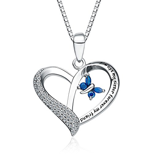 """FANCYCD""""Always My Sister Forever My Friend"""" Love Heart Necklace, 18"""", Jewelry for Women & Girls, Birthday Gifts for Sister, Best Friends."""